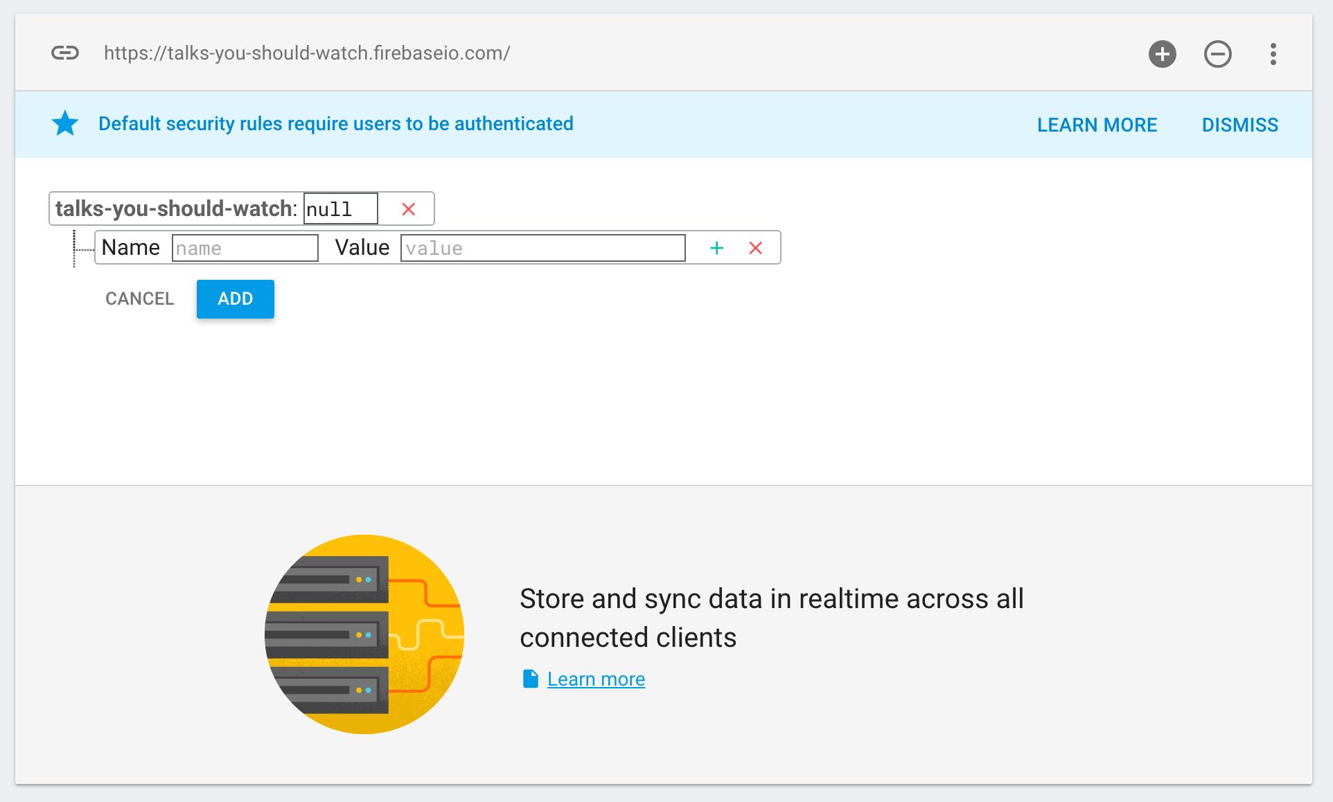 Firebase   Step 2: Write data manually in the Firebase Dashboard