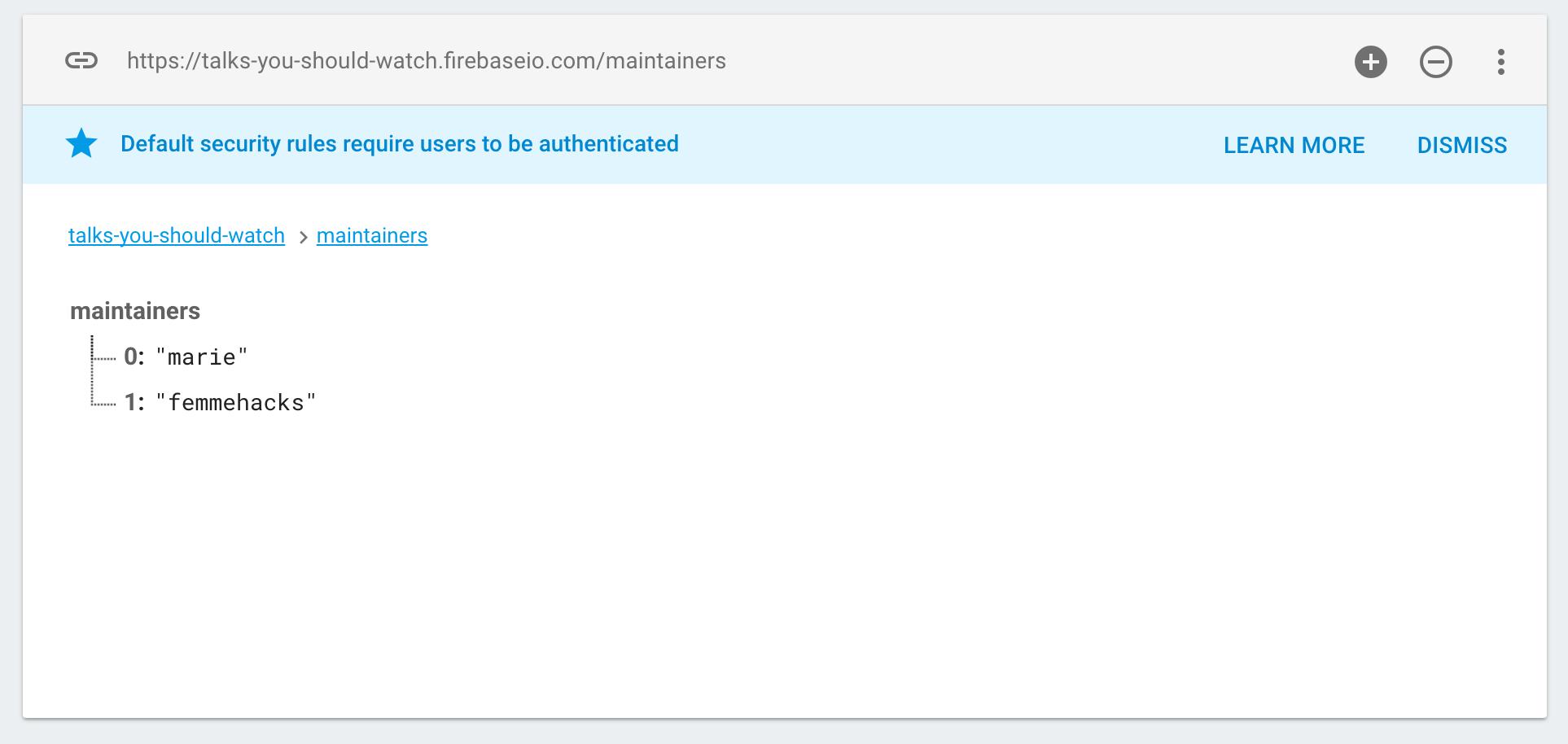 Firebase | Step 2: Write data manually in the Firebase Dashboard