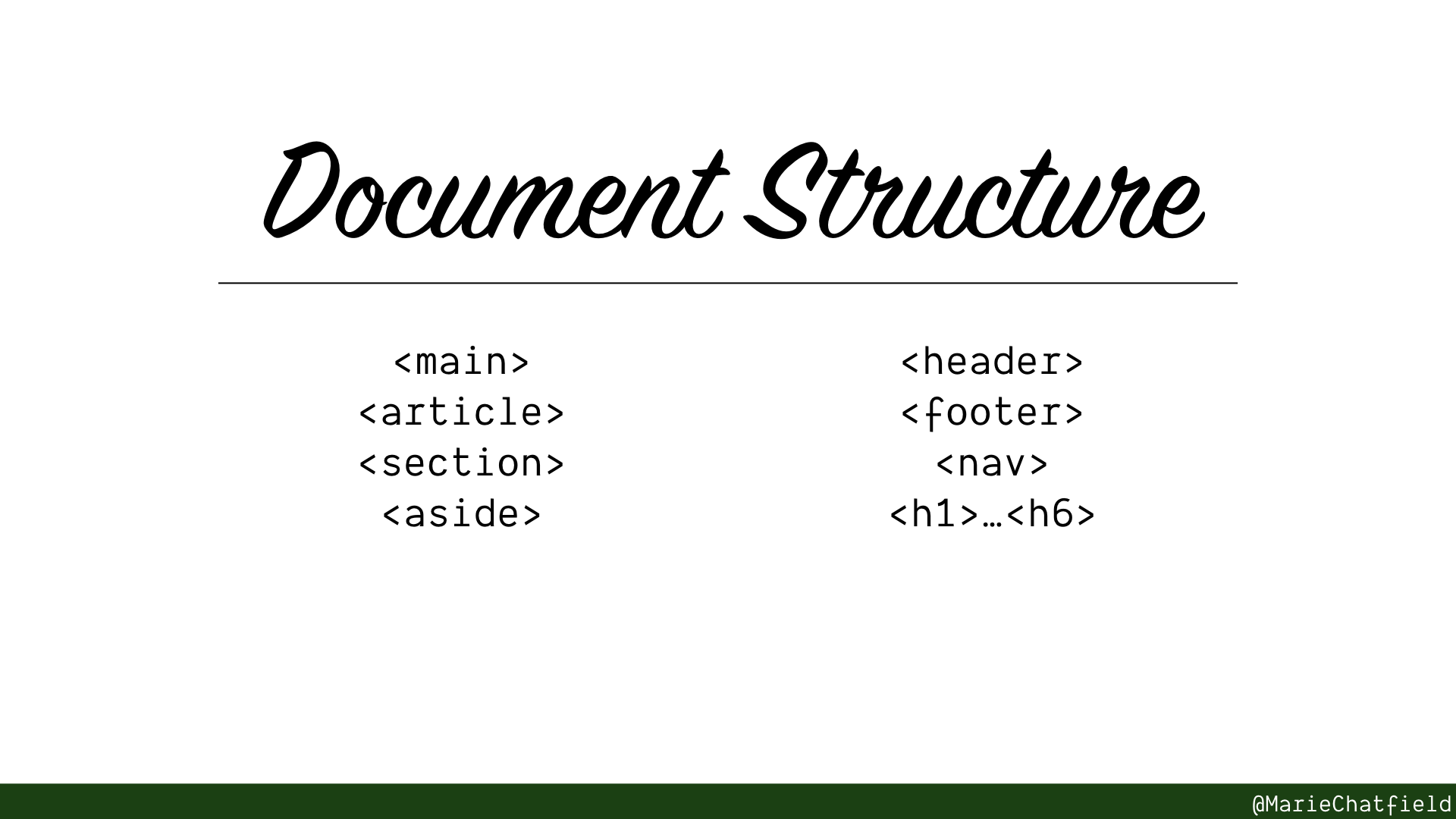 Slide of Document Structure with HTML elements listed