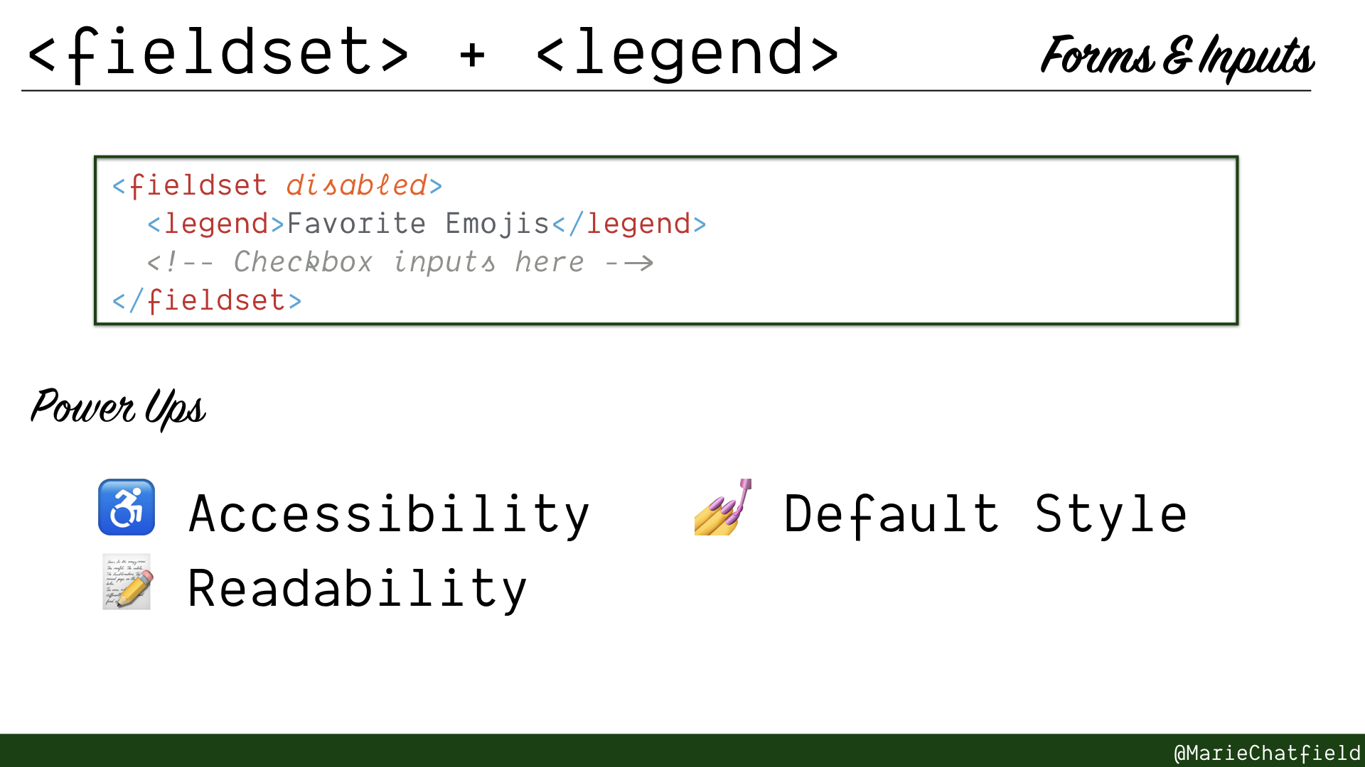 Slide of fieldset and legend elements