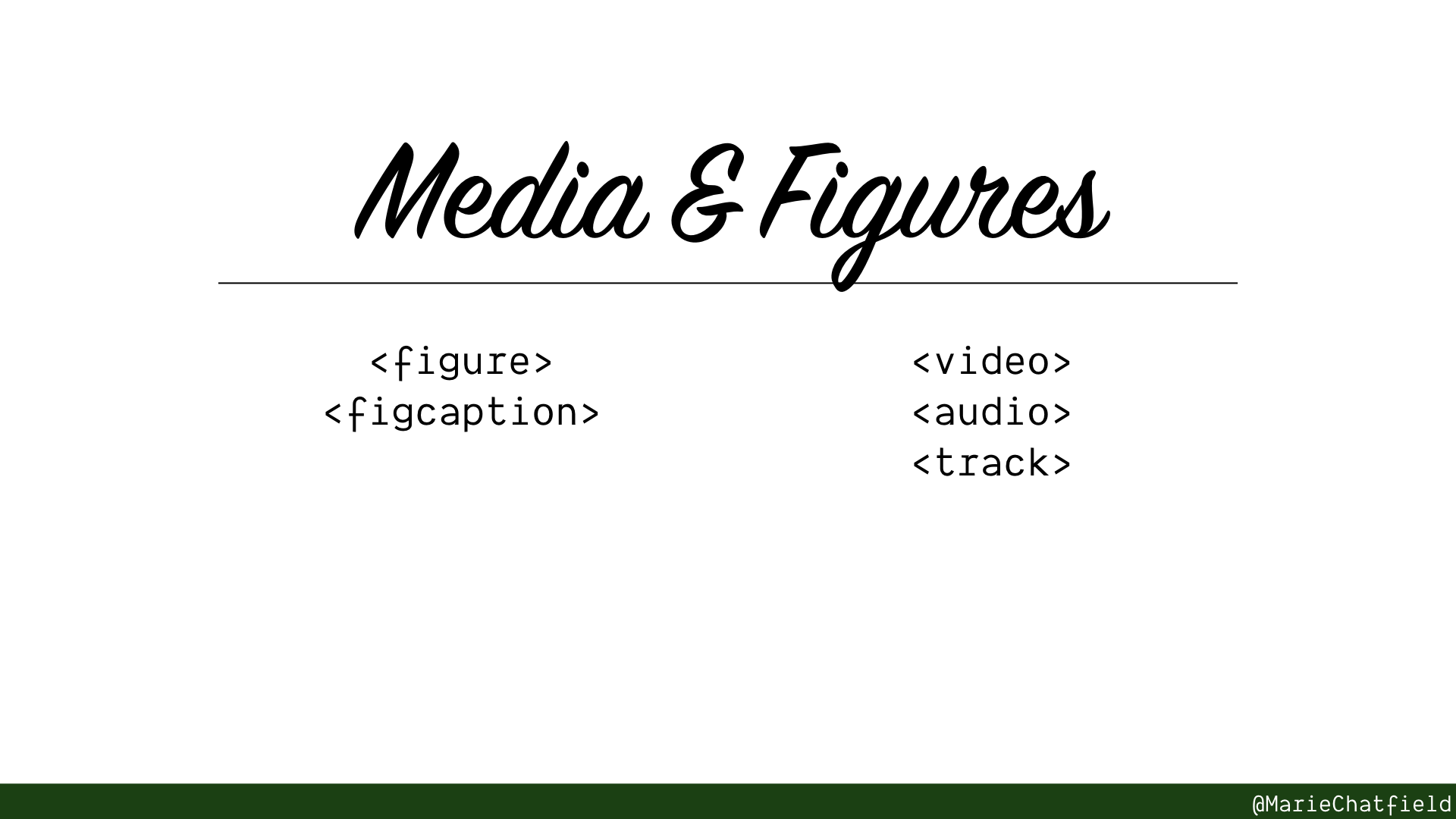 Slide of Media & Figures with HTML elements listed