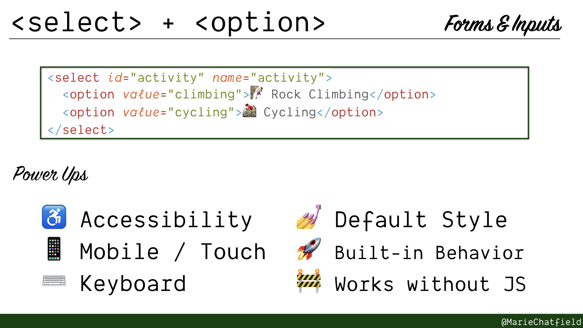 Slide of select and option elements