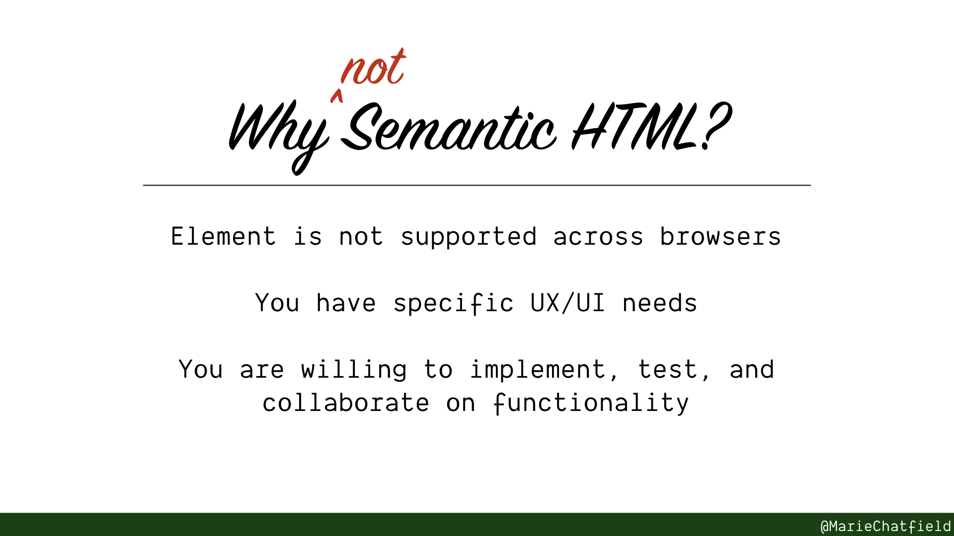 When not to use Semantic HTMl slide